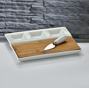- Bambulu Bıçaklı Peynir Tabağı Dikdörtgen