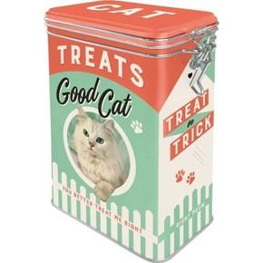 Nostalgic Art - Cat Treats Good Boy Kilitlenebilir Kapaklı Metal Kutu
