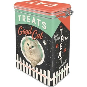 Nostalgic Art Cat Treats Good Boy Kilitlenebilir Kapaklı Metal Kutu - Thumbnail