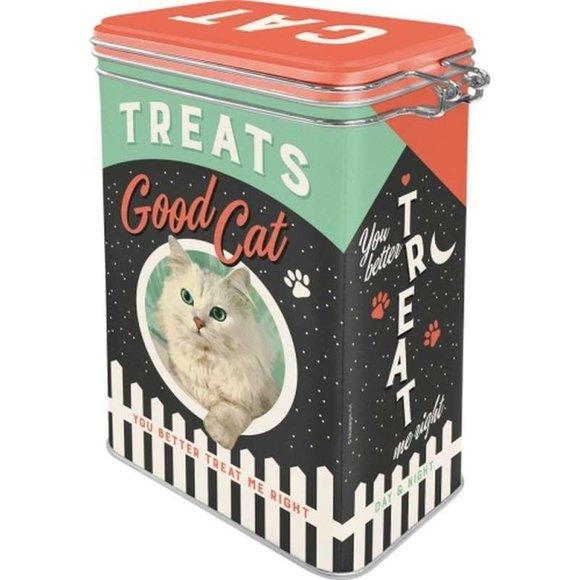 Nostalgic Art Cat Treats Good Boy Kilitlenebilir Kapaklı Metal Kutu