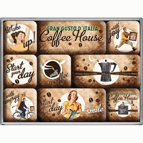 Nostalgic Art - Nostalgic Art Coffee House Magnet Set 9 Parça