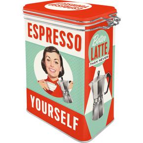 Nostalgic Art - Espresso Yourself Kilitlenebilir Kapaklı Metal Kutu