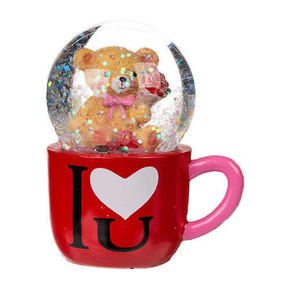 Out of The Blue - GLITTER GLOBE BEAR IN MUG I LOVE U Simli Su Küresi Ayıcık