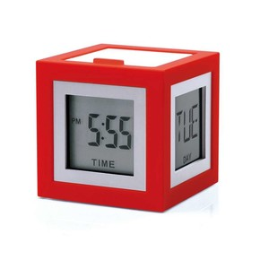LEXON - Lexon Cubissimo LCD 4 Ekran Saat Kırmızı