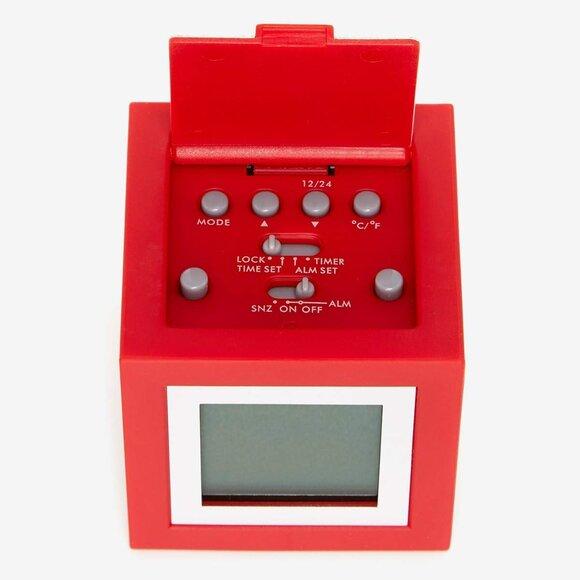 Lexon Cubissimo LCD 4 Ekran Saat Kırmızı