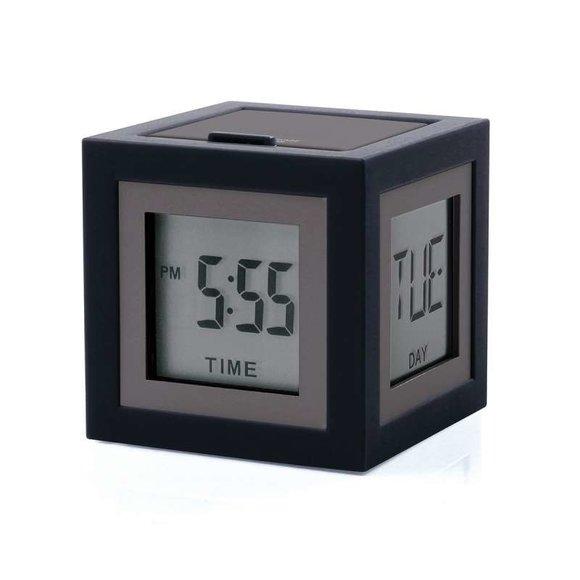 Lexon Cubissimo LCD 4 Ekran Saat Siyah