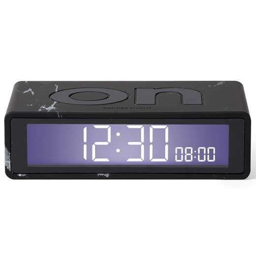 Lexon Flip LR143LMN Travel Alarm Saat Siyah Mermer