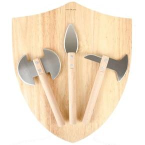 Kikkerland MEDIEVAL Ortaçağ Peynir Tahtası Seti Kesme Tahtası ve Bıçakları - Thumbnail