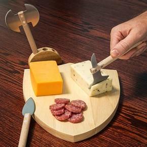 Kikkerland - Kikkerland MEDIEVAL Ortaçağ Peynir Tahtası Seti Kesme Tahtası ve Bıçakları