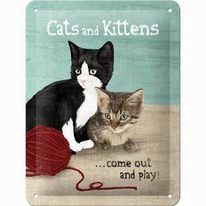 Nostalgic Art - Nostalgic Art Cats and Kittens Kabartmalı Metal Duvar Panosu