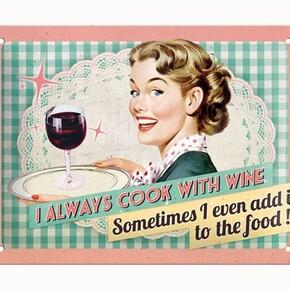 Nostalgic Art - Nostalgic Art Cook With Wine Kabartmalı Metal Duvar Panosu