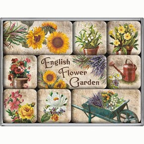 Nostalgic Art - Nostalgic Art English Flower Garden Magnet Set 9 Parça
