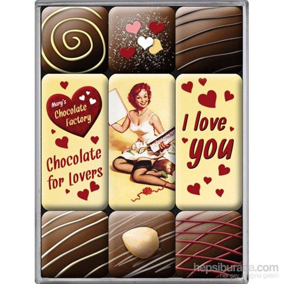 Nostalgic Art I Love You Chocolate Magnet Set 9 Parça