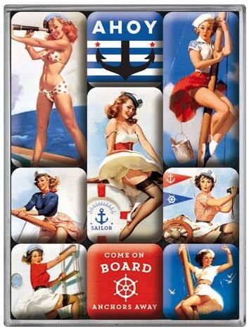 Nostalgic Art Pin Up Ahoy Magnet Set 9 Parça
