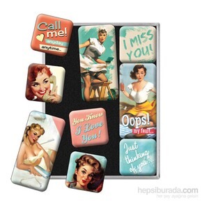 Nostalgic Art Say It Nice Slogans Magnet Set 9 Parça - Thumbnail