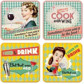 Nostalgic Art - Say It 50s Drink Wine Bardak Altlığı Set