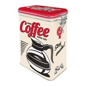 Nostalgic Art - Strong Coffee Served Here Kilitlenebilir Kapaklı Metal Kutu
