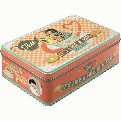 Nostalgic Art TEA It is Like A Hug In A Cup Yatay Teneke Saklama Kutusu