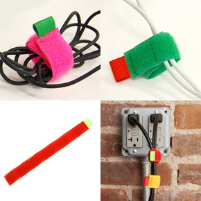 Kikkerland - Kikkerland VELCRO Renkli Kablo Bağları 8li Set