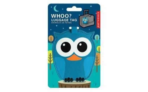 Kikkerland WHOO OWL Baykuş Valiz Etiketi Mavi