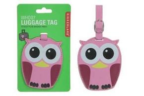 Kikkerland - Kikkerland WHOO OWL Baykuş Valiz Etiketi Pembe